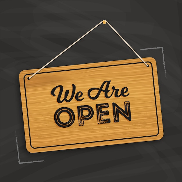 Siamo un concetto di segno aperto Vettore Premium