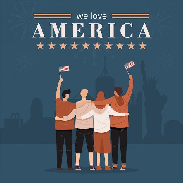 Adoriamo america banner. vista posteriore di persone che abbracciano insieme e che tengono la bandiera degli stati uniti, vettore Vettore Premium