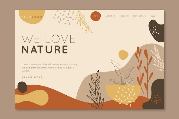 Adoriamo la pagina di destinazione della natura Vettore Premium