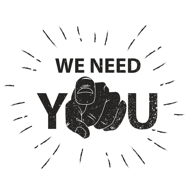 Abbiamo bisogno di te illustrazione vettoriale. retro mano umana con il dito puntato o gesticolando verso di te Vettore Premium