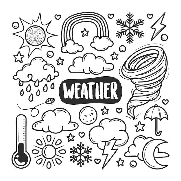 Doodle disegnato a mano delle icone del tempo Vettore Premium