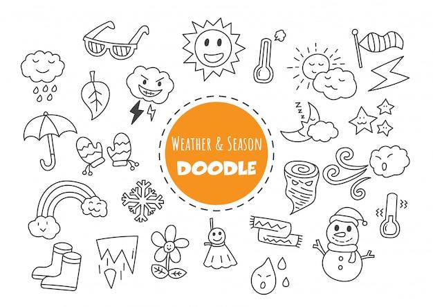 Meteo e stagione doodle kawaii Vettore Premium
