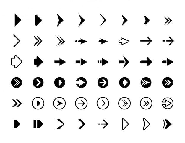 Frecce web. simboli per le icone di infographics dei bottoni dei segni delle frecce di direzione del sito web Vettore Premium