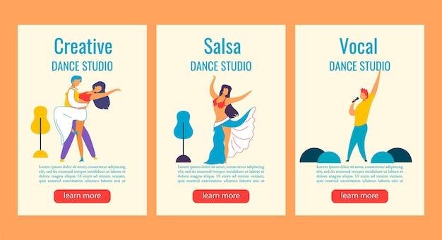 Banner web storie di instagram personaggi dei cartoni animati per la danza, cantare in studio Vettore Premium