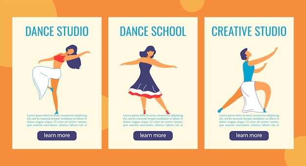 Banner web storie di instagram personaggi dei cartoni animati per studio di danza. Vettore Premium