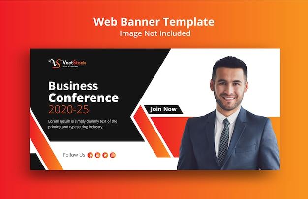 Modello di banner web per conferenza di lavoro Vettore Premium