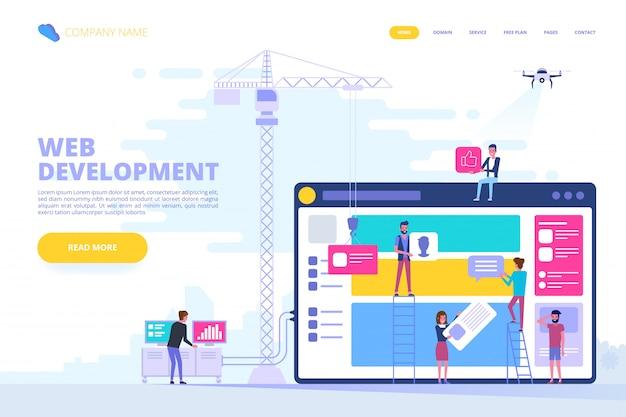 Web design e concetto di sviluppo di app Vettore Premium