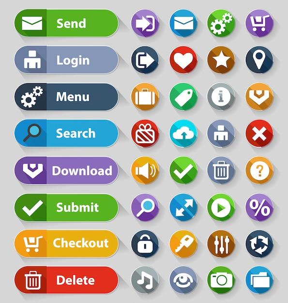 Set di pulsanti di web design Vettore Premium