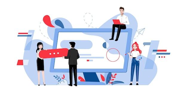 Concetto di web design. team creativo di persone sta realizzando un web design. Vettore Premium