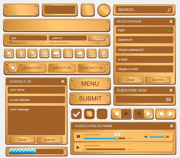 Insieme di elementi di web design. oro Vettore Premium