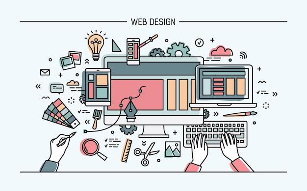 Banner di arte linea web design Vettore Premium