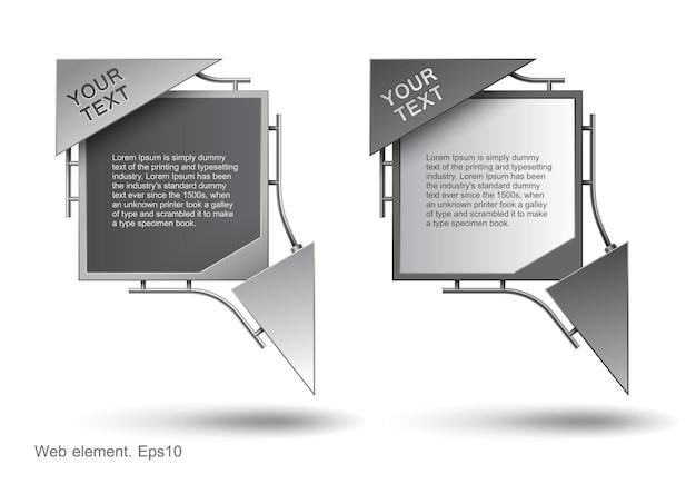 Progettazione di elementi web, costruzione moderna Vettore Premium