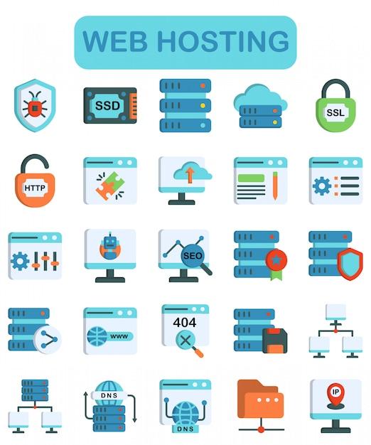 Set di icone di web hosting, stile colore lineare Vettore Premium