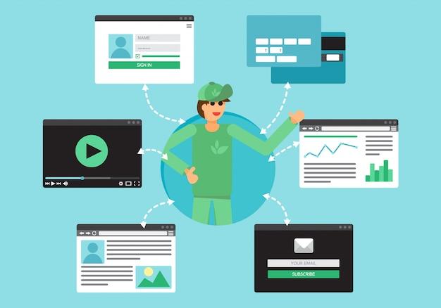 Vita web di volontari e attivisti da video, blog, social network, acquisti online e Vettore Premium