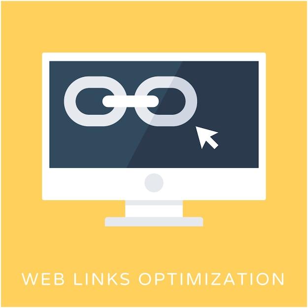 Icona di vettore piatto ottimizzazione web link Vettore Premium
