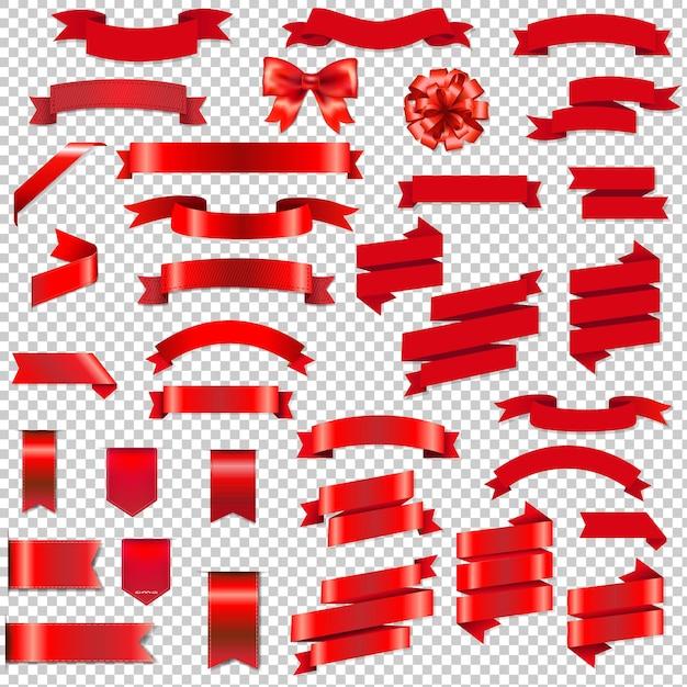 Nastri web e fiocco impostato con gradiente maglie illustrazione Vettore Premium
