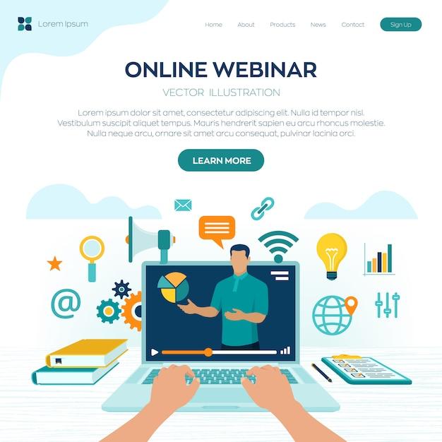Seminario web. istruire. pagina di destinazione e-learning Vettore Premium