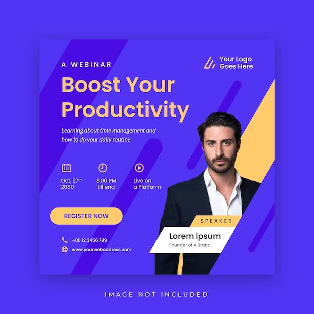 Modello di social media poster webinar Vettore Premium
