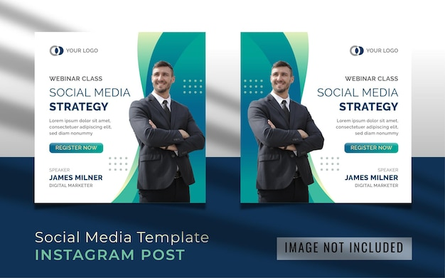 Modello di post instagram di strategia di social media webinar Vettore Premium