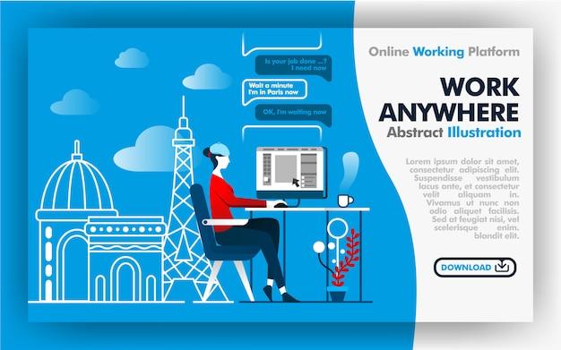 Pagina web di work anywhere Vettore Premium