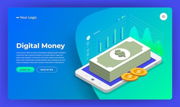 Marketing digitale del concetto di sito web. denaro digitale analizzare con grafico grafico. illustrazione. Vettore Premium