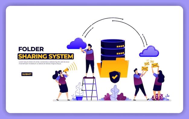 Progettazione del sito web del sistema di condivisione delle cartelle. gestione condivisione dati sistema database. Vettore Premium