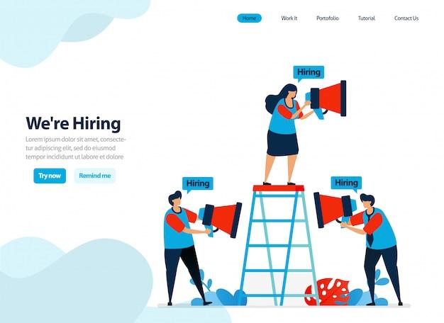 Progettazione di siti web di assunzione e assunzione di dipendenti. Vettore Premium