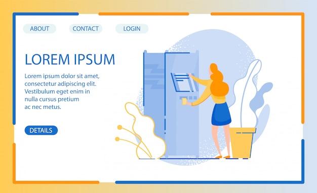 Progettazione del sito web con illustrazione della donna in stato di bisogno in contanti, passando al terminale automatico Vettore Premium