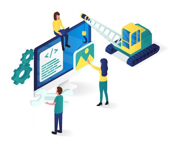 Illustrazione isometrica di progettazione e sviluppo di siti web Vettore Premium