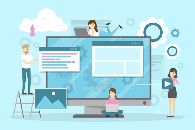 Set di banner orizzontale sito web e sviluppo. Vettore Premium