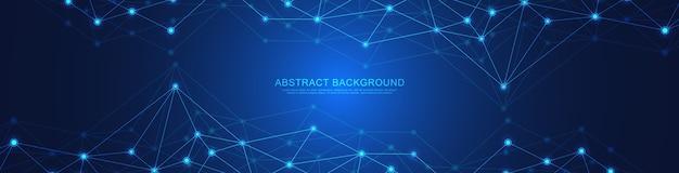 Design di intestazione o banner del sito web con sfondo geometrico astratto e punti e linee di collegamento. connessione di rete globale. tecnologia digitale con sfondo plesso e spazio per il testo. Vettore Premium