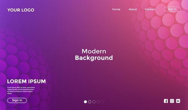 Modello di sito web rosa con sfondo geometrico di forma Vettore Premium