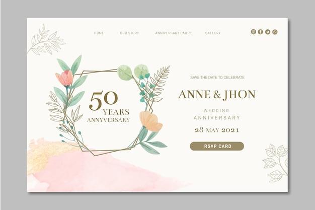Pagina di destinazione dell'anniversario di matrimonio Vettore Premium