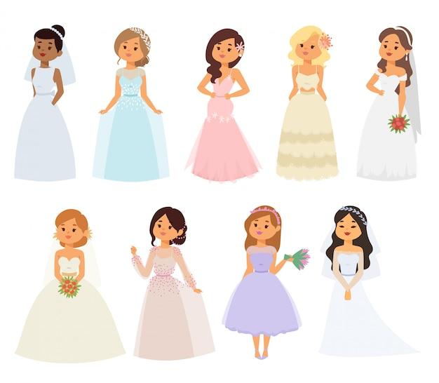 Personaggi di ragazza sposa sposa Vettore Premium