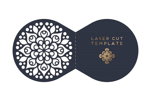 Modello di taglio laser carta di nozze Vettore Premium