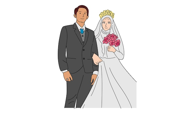 Sposi per fidanzamento o matrimonio Vettore Premium