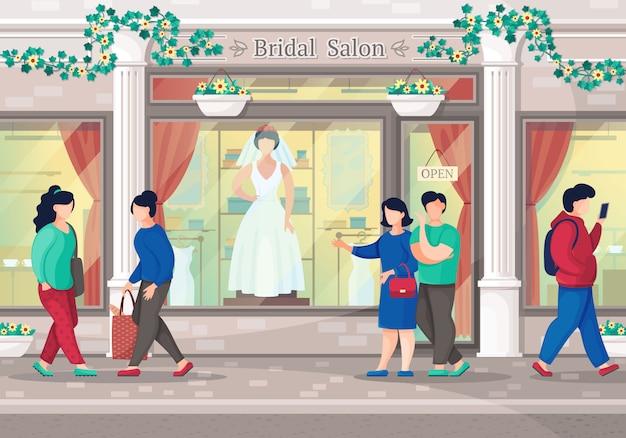 Salone degli abiti da sposa. coppia andare a fare shopping nella boutique di abiti da sposa. salone nuziale della città Vettore Premium