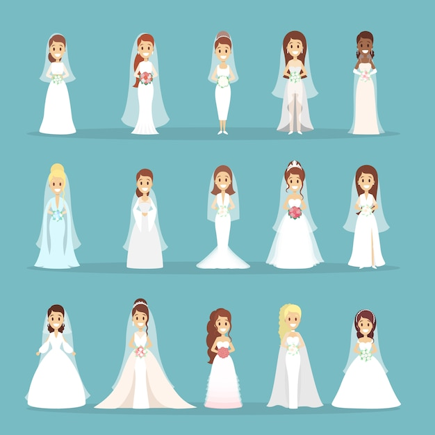 Set di abiti da sposa. le donne in diversi abiti bianchi. Vettore Premium