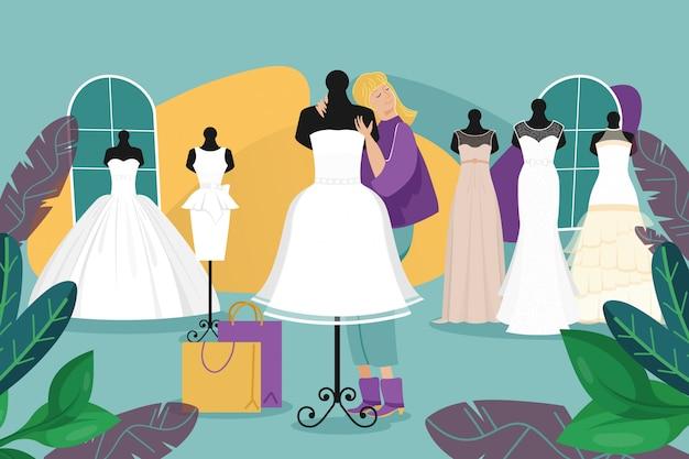 Negozio del vestito da sposa, illustrazione di vita quotidiana della sposa della donna. carattere ragazza adulta nel negozio di moda salone di nozze. indossatrice Vettore Premium