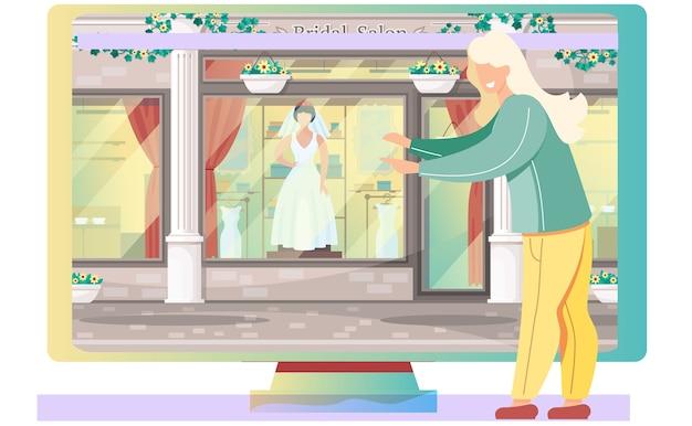 Negozio di abiti da sposa. una donna seduta vicino al monitor con vetrina salone nuziale. manichino in elegante collezione di abiti da sposa bianchi alla vetrina dei cartoni animati, boutique alla moda. preparazioni per matrimoni Vettore Premium