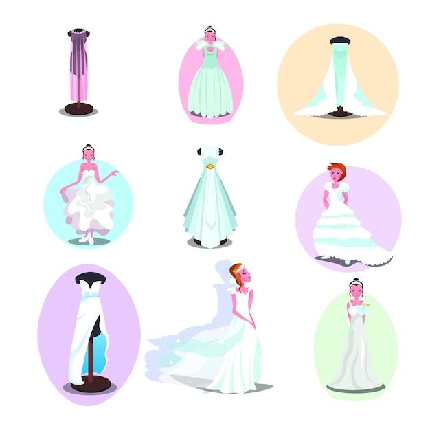 Abiti da sposa e accessori in diversi stili su donne e manichini. Vettore Premium