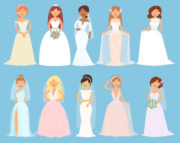 Abiti da sposa sul personaggio della sposa donna e damigella d'onore indossando accessori per vestirsi bianchi e illustrazione di celebrazione nuziale set di ragazza in matrimonio in abito da sposa isolato su sfondo Vettore Premium