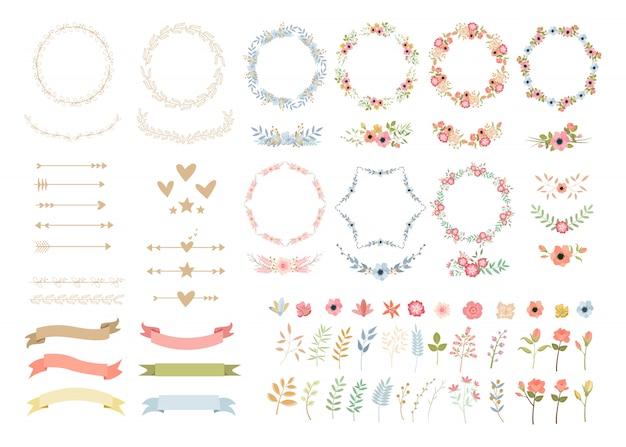 Illustrazioni variopinte della decorazione elegante dei fiori di nozze messe Vettore Premium