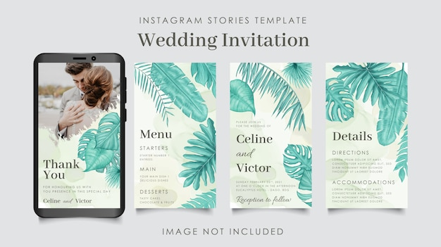 Modello di storie di instagram di nozze con foglie di acquerello Vettore Premium
