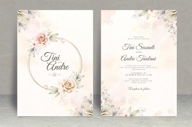 Modello stabilito della carta dell'invito di nozze con i fiori e le foglie dell'acquerello Vettore Premium