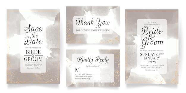 Modello di set di carte invito a nozze con sfondo acquerello Vettore Premium