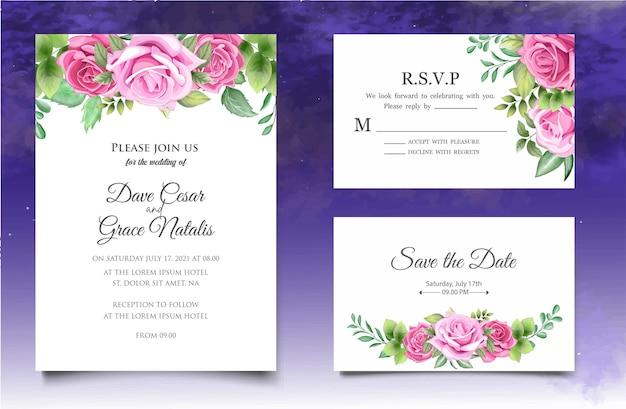 Carta di invito a nozze con eleganti foglie floreali Vettore Premium