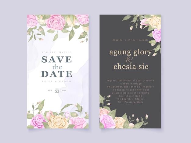 Progettazione del modello della carta dell'invito di nozze con floreale Vettore Premium