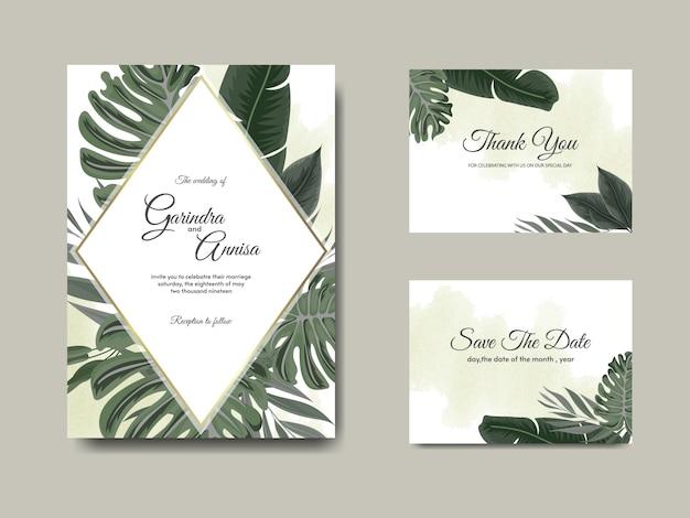 Il modello della carta dell'invito di nozze ha messo con la decorazione tropicale delle foglie Vettore Premium