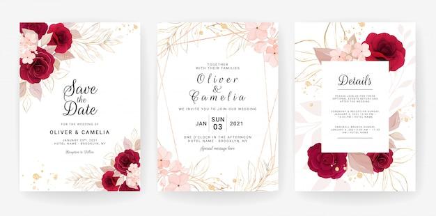 Il modello della carta dell'invito di nozze ha messo con l'acquerello e la decorazione floreale. illustrazione di fiori Vettore Premium